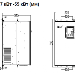 ПЧ INVT серии GD350 размеры 37 - 55 кВт