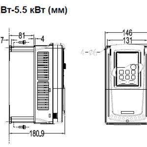 ПЧ INVT серии GD350 размеры 4 - 5,5 кВт